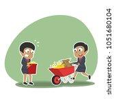 african businesswoman pushing... | Shutterstock .eps vector #1051680104