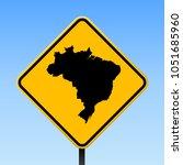 brazil map road sign. square... | Shutterstock .eps vector #1051685960