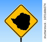 zimbabwe map road sign. square... | Shutterstock .eps vector #1051686074
