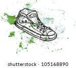 water colour drawing an illustration of youth gym shoes of sneakers with blots - stock photo