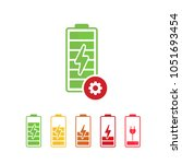 battery icon with settings sign.... | Shutterstock .eps vector #1051693454