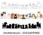 set of small dogs hand drawn...   Shutterstock .eps vector #1051695980