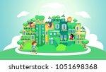 illustration of stickman kids... | Shutterstock .eps vector #1051698368