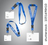 set of lanyards with id card.... | Shutterstock .eps vector #1051698410