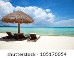 deck chairs on a beautiful... | Shutterstock . vector #105170054