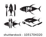 graphic tuna and  silverware ...   Shutterstock .eps vector #1051704320