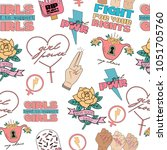 seamless pattern girl power and ... | Shutterstock .eps vector #1051705760
