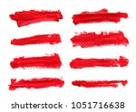 set of red abstract gouache... | Shutterstock . vector #1051716638