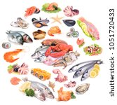 the most popular seafood | Shutterstock . vector #1051720433