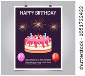 happy birthday card with... | Shutterstock .eps vector #1051732433