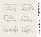 auto rvs  camper cars   vans ... | Shutterstock .eps vector #1051733090