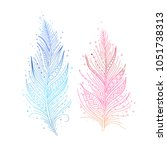 colored bird feathers isolated... | Shutterstock .eps vector #1051738313