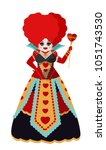 queen of hearts with staff | Shutterstock .eps vector #1051743530