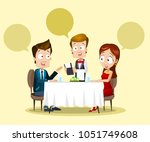 young couple having dinner in a ... | Shutterstock .eps vector #1051749608