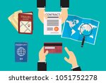 executive goes to a travel... | Shutterstock .eps vector #1051752278