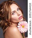 beauty fashion portrait of... | Shutterstock . vector #1051764410