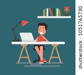 freelancer works with laptop at ... | Shutterstock .eps vector #1051765730