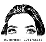 hand drawn girl with silky hair ... | Shutterstock .eps vector #1051766858