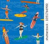 surfing girls on the surf...   Shutterstock .eps vector #1051766900