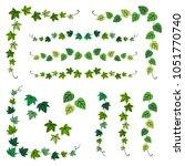 set of ivy branch frames  ... | Shutterstock .eps vector #1051770740