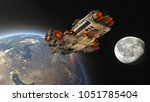 space ship 3d cg rendering of a ... | Shutterstock . vector #1051785404