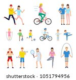 group of people doing various... | Shutterstock .eps vector #1051794956