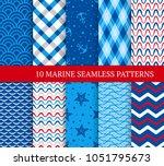 ten marine different seamless... | Shutterstock .eps vector #1051795673
