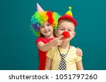 cute little kids in funny... | Shutterstock . vector #1051797260