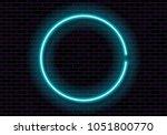 shining neon frame on brick... | Shutterstock .eps vector #1051800770