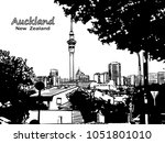 auckland downtown view with sky ... | Shutterstock .eps vector #1051801010