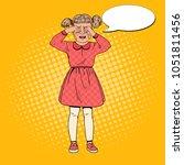 pop art unhappy little girl... | Shutterstock .eps vector #1051811456