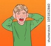 pop art angry screaming boy... | Shutterstock .eps vector #1051812860