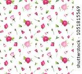 summer floral seamless pattern... | Shutterstock .eps vector #1051815569