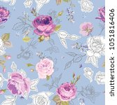 floral seamless pattern with... | Shutterstock .eps vector #1051816406