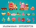 vector set of sweet landscape... | Shutterstock .eps vector #1051820726