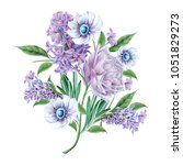 watercolor bouquet with flowers....   Shutterstock . vector #1051829273