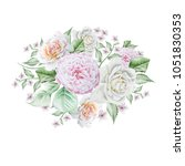 watercolor bouquet with flowers.... | Shutterstock . vector #1051830353