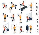 isometric people in gym... | Shutterstock .eps vector #1051838213