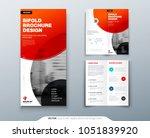 bi fold brochure design. red... | Shutterstock .eps vector #1051839920