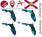 vector map of florida with... | Shutterstock .eps vector #1051842704