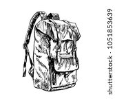 hand drawn doodle backpack... | Shutterstock .eps vector #1051853639