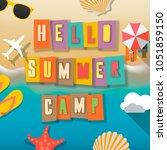 summer camp for kids poster ... | Shutterstock .eps vector #1051859150