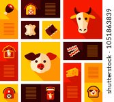 farm animal icons set. cow and...