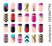nail art design. geometric nail ... | Shutterstock .eps vector #1051867796