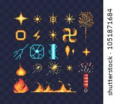 Fx light effects energy symbols pixel art icons. Electric lightning bolt. Bright light flare and sparks. Bengal fire fireworks and sparkler isolated vector illustration. Game assets 8-bit sprite sheet | Shutterstock vector #1051871684