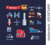 transport pixel art icons set... | Shutterstock .eps vector #1051871690