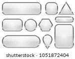 white glass buttons with chrome ... | Shutterstock .eps vector #1051872404