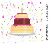 happy birthday card with... | Shutterstock .eps vector #1051874684
