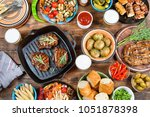 barbecue  grill and food... | Shutterstock . vector #1051878398