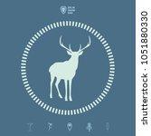 deer with big antlers...   Shutterstock .eps vector #1051880330